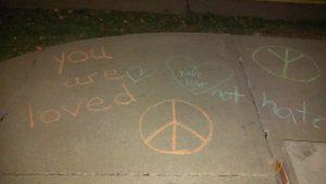 Sidewalk writings outside the Kent Unitarian Universalist church on Nov. 13 2016. Photo by MJ Eckhouse