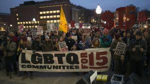 Nov. 29 2016, Minneapolis, MN. Protesters supporting a $15 minimum wage. Photo by Fibonacci Blue.