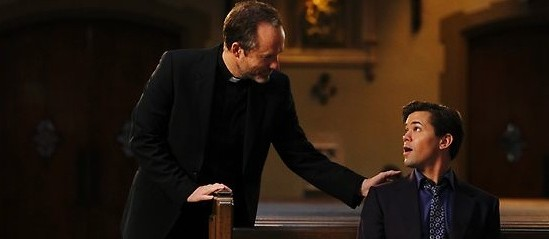 Bryan finds spiritual guidance in--who knew?--a Catholic priest. Photo credit: NBC.com