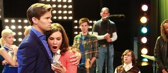 Bryan arrives at work on the set of a hit TV show that looks a lot like.... Glee. Photo credit: NBC.com