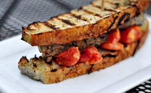 Blackbean veggie burger panini from Bar145