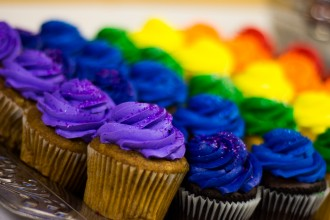 The rainbow cupcake is a tradition at every LGBTQ Student Center event!