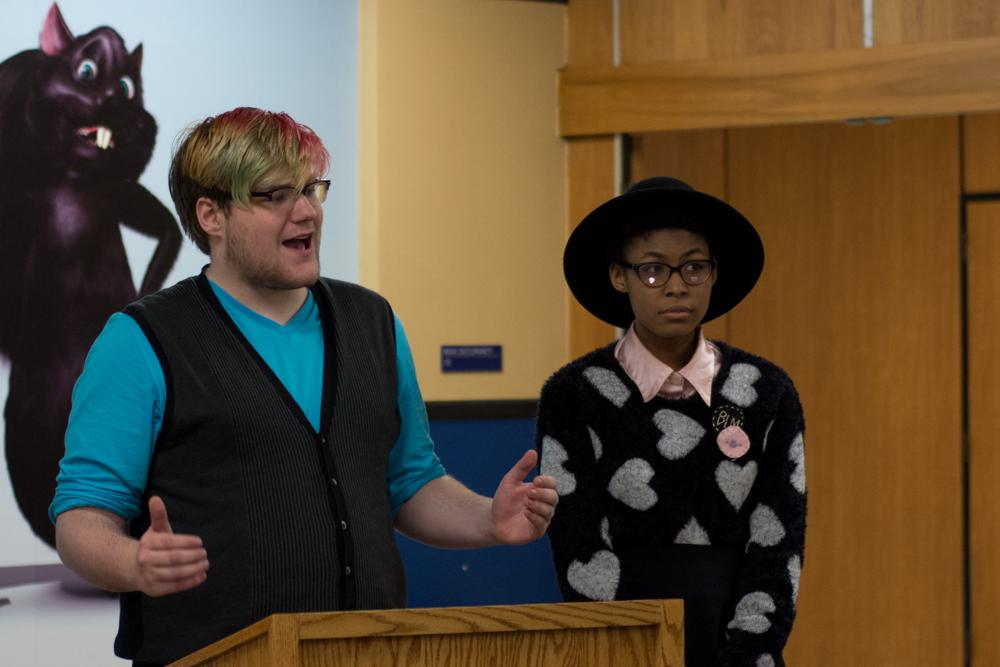 Emily and Jordan are seen here representing Trans*fusion.