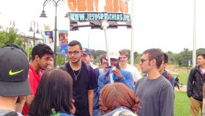 Political Science student, Rajat Manan, argues with a preacher. Sept 28. Photo by Gerald Biggerstaff.