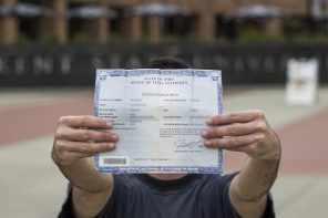 Kent student with Ohio birth certificate. Photo by Corey Grau.