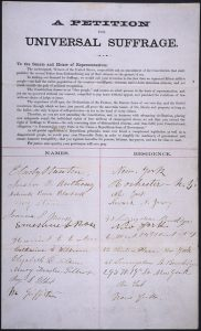 A petition for women's suffrage, ca. 1865.