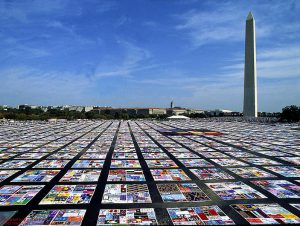 The AIDS quilt displayed at the Washington Monument.
