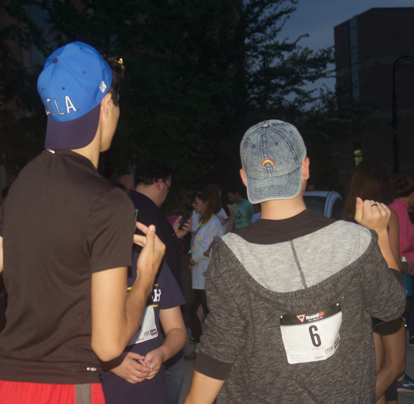 Runners warm up by dancing before That Gay 5K.