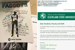Hateful Anti-LGBTQ Flyer at Cleveland State; CSU President and Lakewood Candidate Respond