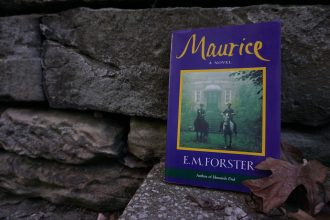 """Maurice"" by E.M. Forester leans against a stone wall with fallen leaves off to the side."