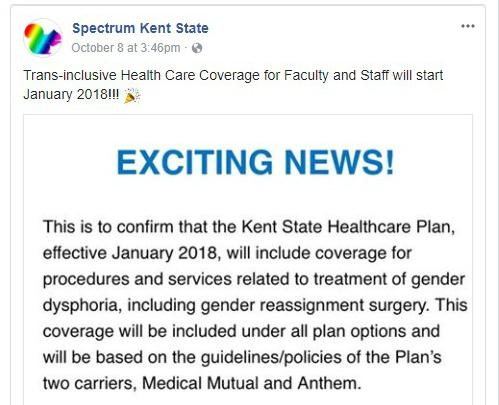 KSU Health Insurance to Provide Transgender Coverage for Faculty and Staff
