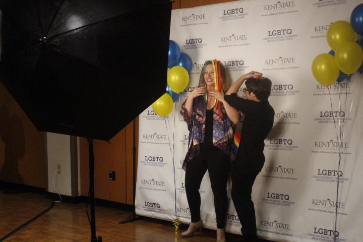 Honoree Maria Mandato and her girlfriend pose at the photo booth after the ceremony. Mandato thanked her girlfriend before receiving her stole. Photo by Regan Schell.