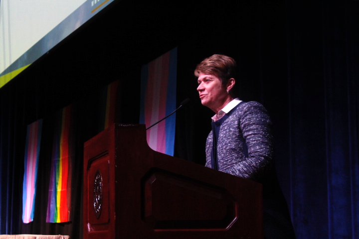 President Beverly Warren expresses her pride at the work the LGBTQ Student Center does for the community of Kent State. Photo by Regan Schell.