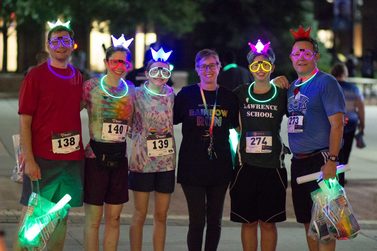 (Left to Right) Blaine Vesley, Vanessa Vesley, Nora Vesley, Kim Homsher, Angelika Marsh and Jeff Marsh pose for a photo at the Rainbow Run 5k event that the Kent State LGBTQ Center put together outside the Kent State Student Center on Friday, Sept. 21, 2018. Photo by Sophia Adornetto.